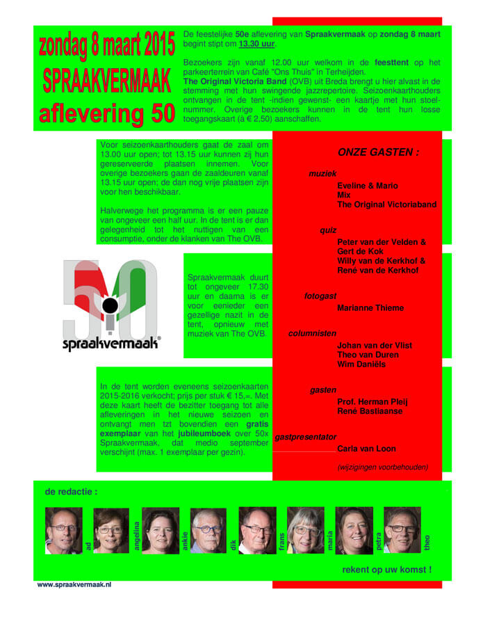 Spraakvermaak 50 Flyer